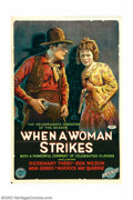"Movie Posters:Western, When a Woman Strikes (Film Clearing House, 1919). One Sheet (27"" X41""). This gorgeous Stone Litho one sheet is from a small..."