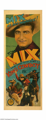 "King Cowboy (FBO, 1928). Insert (14"" X 36""). When Tom Mix left William Fox Studios, a company that had made hi..."