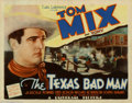 "Movie Posters:Western, Texas Bad Man (Universal, 1932). Title Lobby Card (11"" X 14""). Tom Mix, one of the greatest western stars of cinema history ..."