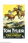 "Movie Posters:Western, Out of the West (FBO, 1926). One Sheet (27"" X 41""). Tom Tyler wasthe star of his own westerns during the late 1920s. Before..."