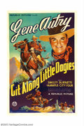 "Movie Posters:Western, Git Along Little Doggies (Republic, 1937). One Sheet (27"" X 41"").Gene Autry yodeled his way to fame and fortune as a singin..."