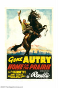 "Movie Posters:Western, Home on the Prairie(Republic, 1939). One Sheet (27""X41"") This onesheet is considered one of Gene Autry's best as it feature..."