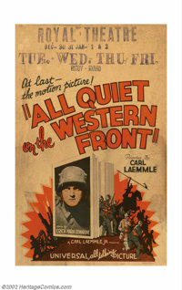 """All Quiet on the Western Front (Universal, 1930). Window Card (14"""" X 22""""). Offered here is an original release..."""