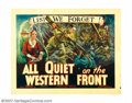 "Movie Posters:War, All Quiet on the Western Front (Universal, R-1934). Half Sheet (22"" X 28""). This grand Academy Award winning film from the n..."