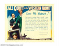 """Movie Posters:War, All Quiet on the Western Front (Universal, R-1934). Half Sheet (22""""X 28""""). Lew Ayres. Very Fine. Rolled. ..."""