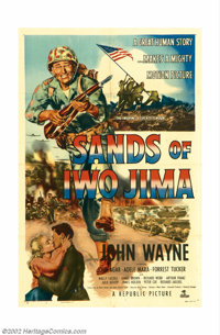 "Sands of Iwo Jima (Republic, 1950). One Sheet (27"" X 41""). John Wayne bleeds red, white and blue in this patri..."