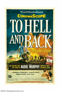 """To Hell and Back (Universal, 1955). One Sheet (27"""" X 41""""). By the time Audie Murphy made this """"biopic&quo..."""