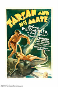 "Tarzan and His Mate (MGM, 1934). One Sheet (27"" X 41""). Johnny Weismuller, whose name is synonymous with Tarza..."