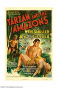 "Movie Posters:Adventure, Tarzan and the Amazons (RKO, 1945). One Sheet (27"" X 41""). VeryFine on Linen. ..."