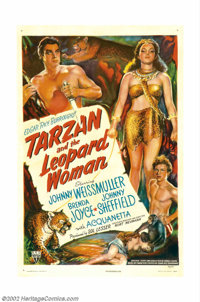 "Tarzan and the Leopard Woman (RKO, 1946). One Sheet (27"" X 41""). The legendary Lord of the Jungle, Tarzan, swi..."
