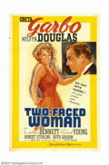 "Movie Posters:Comedy, Two-Faced Woman (MGM, 1941). One Sheet (27"" X 41""). Greta Garbomade this film her swan song, and after its release, was nev..."