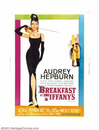 """Breakfast At Tiffany's (Paramount, 1961). 30"""" X 40"""". Offered here is the very rare hard stock poster for this..."""