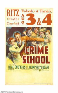"""Crime School (Warner Brothers, 1938). Window Card (14"""" X 22""""). Humphrey Bogart is the good guy in this classic..."""