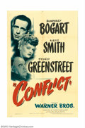 "Movie Posters:Film Noir, Conflict (Warner Brothers). One Sheet (27"" X 41""). Humphrey Bogartand Sydney Greenstreet are teamed again in this noir murd..."
