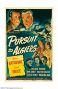 """Movie Posters:Mystery, Pursuit to Algiers (Universal, 1945). One Sheet (27"""" X 41""""). Rathbone and Bruce are back as Sherlock Holmes and Dr. Watson i..."""