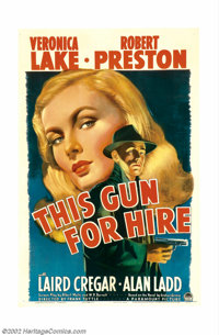 """This Gun For Hire (Paramount, 1942). One Sheet (27"""" X 41""""). This movie, the first teaming of perhaps the most..."""