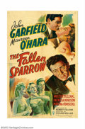 "Movie Posters:Film Noir, Fallen Sparrow, The (RKO, 1943). One Sheet (27"" X 41""). JohnGarfield, one of the early ""method"" actors of his time, gives a..."