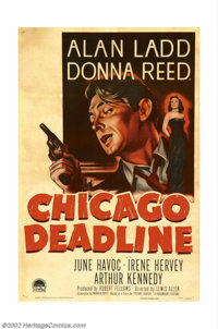 """Chicago Deadline (Paramount, 1949). One Sheet (27"""" X 41""""). This tremendous portrait poster of Alan Ladd is cer..."""