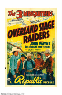 """Overland Stage Raiders (Republic, 1938). One Sheet (27"""" X 41""""). John Wayne, as part of the ever helpful Three..."""