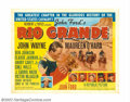 "Movie Posters:Western, Rio Grande (Republic, 1950). Half Sheet (27"" X 41""). This was thelast of John Ford's classic ""cavalry"" trilogy! John Wayne,..."