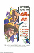 "Movie Posters:Western, Man Who Shot Liberty Valance, The (Paramount, 1962). One Sheet (27""X 41""). Two of the screens greatest stars, John Wayne an..."