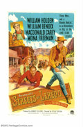 "Movie Posters:Western, Streets of Laredo, The (Paramount, 1949). One Sheet (27"" X 41"").It's 1878 in Texas, and three old outlaw buddies cross trai..."