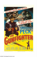 "Movie Posters:Western, Gunfighter, The (20th Century Fox, 1950). One Sheet (27"" X 41"").Gregory Peck gives one of his finer performances as Johnny ..."