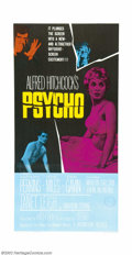 "Movie Posters:Horror, Psycho (Paramount, 1960). Three Sheet (41"" X 81""). Very Fine on Linen. With Scandinavian censor stamp. ..."