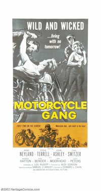 "Motorcycle Gang (AIP, 1957). Three Sheet (41"" X 81""). Although this film was made four years after ""The W..."