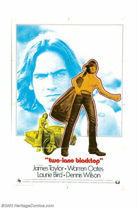 "Two-Lane Blacktop (Universal, 1971). International One Sheet (27"" X 41""). This is THE ""muscle car"" f..."