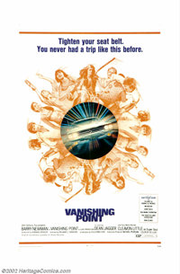 Vanishing Point (20th Century Fox, 1971). One sheet. Way too cool super soul DJ (Cleavon Little) guides an ex-race car d...