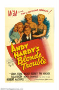 "Movie Posters:Comedy, Andy Hardy's Blonde Trouble (MGM, 1944).One Sheet (27"" X 41"").Mickey Rooney was the #1 box-office star for MGM for several ..."
