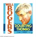 "Movie Posters:Comedy, Doubting Thomas (Fox, 1935). Six Sheet (81"" X 81""). When WillRogers was killed in an airplane crash in 1935, the whole nati..."