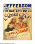 "Movie Posters:Comedy, Fools For Scandal (Warner Brothers, 1938). Jumbo Window Card (28"" X22""). Warner Brothers borrowed Carole Lombard to star in..."