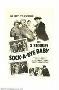 "Movie Posters:Comedy, Sock-A-Bye-Baby (Columbia, 1942). One Sheet (27"" X 41""). In thesound era, no one topped the Three Stooges for longevity in ..."