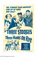 "Movie Posters:Comedy, Three Hams on Rye (Columbia, 1950). One Sheet (27"" X 41""). The Three Stooges are stage-hands who finagle small parts in a pl..."