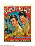 "Movie Posters:Comedy, Bonnie Scotland (MGM, R-1940s). Belgian (14"" X 22""). Offered hereis a nice re-issue Belgian poster to the Laurel and Hardy ..."
