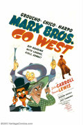"Movie Posters:Comedy, Go West (MGM, 1940). One Sheet (27"" X 41""). This dynamic posterwith art by the legendary Al Hirschfeld is also signed by Wa..."