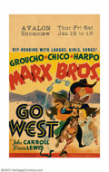 "Movie Posters:Comedy, Go West (MGM, 1940). Window Card (14"" X 22""). Groucho and the boysare up against some of the old west's worst villians in t..."
