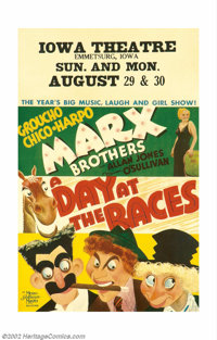 """Day At The Races, A (MGM, 1937). Window Card (14"""" X 22""""). The Marx Brothers are back in this equestrian comedy..."""