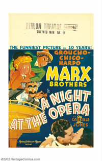 "A Night at the Opera (MGM, 1935). Window Card (14"" X 22""). With this film the great character sketch artist Al..."
