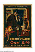 "Movie Posters:Comedy, One A.M. (Mutual, 1916). One Sheet (27"" X 41""). Chaplin began hisfilm career with Mack Sennet's Keystone Films, and moved f..."
