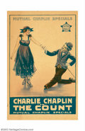 "Movie Posters:Comedy, Count, The (Mutual, 1916). Window Card (13"" X 20""). This earlyChaplin / Mutual short which was written and directed by Chap..."
