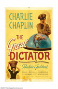 "Movie Posters:Comedy, Great Dictator, The (United Artists, 1940). One Sheet (27"" X 41""). Charlie Chaplin wrote, directed and scored this comedy, h..."