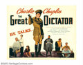 "Movie Posters:Comedy, Great Dictator, The (United Artists, 1940). Half Sheet (22"" X 28"").Fine/Very Fine. Rolled. ..."