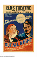 "Movie Posters:Comedy, Out All Night (Universal, 1933). Window Card (14"" X 22""). Thissmall romantic comedy starring two of Universal's well known ..."