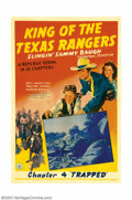 "Movie Posters:Serial, King of the Texas Rangers (Republic, 1941). One Sheet (27"" X 41"") Chapter 4 ""Trapped."" This was the great football hero ""Sli..."