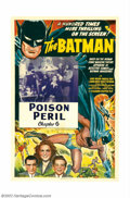 """Movie Posters:Serial, Batman, The (Columbia, 1943). One Sheet (27"""" X 41"""") Chapter 6 """"Poison Peril"""". Batman made his motion picture debut in Columb..."""