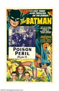 "Batman, The (Columbia, 1943). One Sheet (27"" X 41"") Chapter 6 ""Poison Peril"". Batman made his motion..."