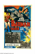 "Movie Posters:Serial, New Adventures of Batman and Robin, The (Columbia, 1949). One Sheet (27"" X 41""), Chapter 14 ""Batman vs. Wizard!"" This was th..."